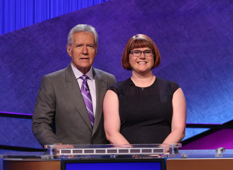 Jeopardy host Alec Trebec with Kerry Greene of Manchester.