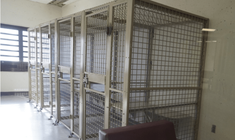"""Therapy booths"" that look like human cages are used for group therapy at the Secure Psychiatric Unit at New Hampshire State Prison for Men."