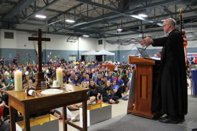 Father Mathias addresses the Relay for Lifers at Saint Anselm College.