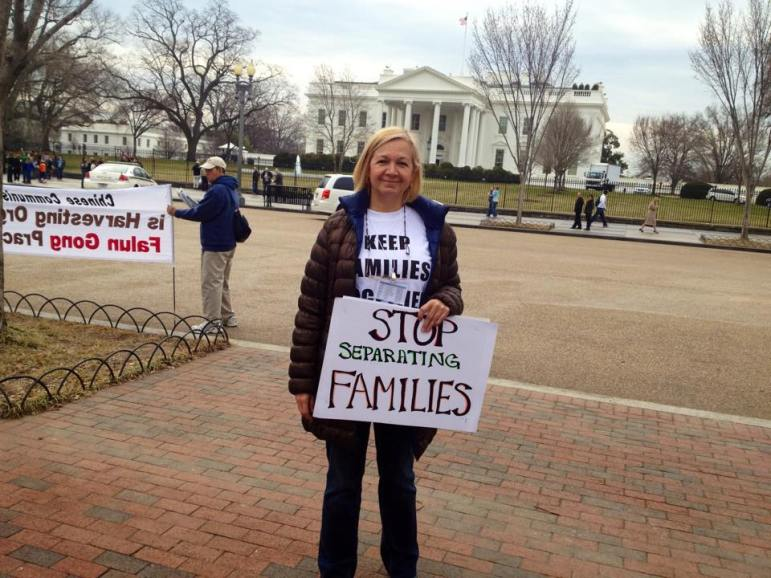 Eva Castillo at a demonstration outside of the White House.