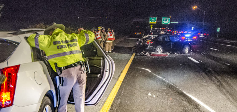Scene of fatal crash on I-93 on Monday night.