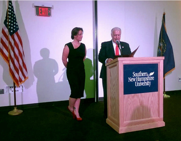 Lt. Nicole Ledoux, recipient of a 2016 Susan B. Anthony Award, with Manchester Mayor Ted Gatsas.