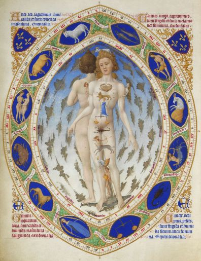 An image related to astrology from the Très Riches Heures du Duc de Berry. It shows the purported relation between body parts and the signs of the zodiac.