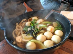 Udon with fish balls.