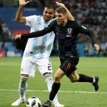 Croatia's Mateo Kovacic in action with Argentina's Gabriel Mercado