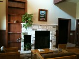 Fireplace in the Drury/family lodging