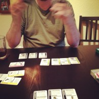 Our favorite card game (Fluxx) on our new table!