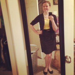A bright and black outfit with cameos from Bueller, my hamper and the closet! Top: LOFT; Cardigan: Target; Belt: Etsy; Skirt: Coldwater Creek; Shoes: Payless