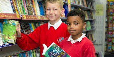 Boys in library