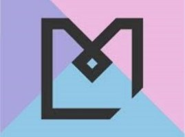 Manchester Libraries Logo blue, pink and purple box containing and M and L