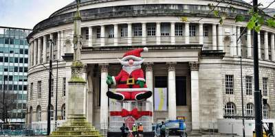 Image of santa outside central library
