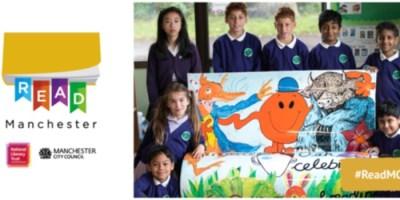Read Manchester logo with group of school children around book bench.