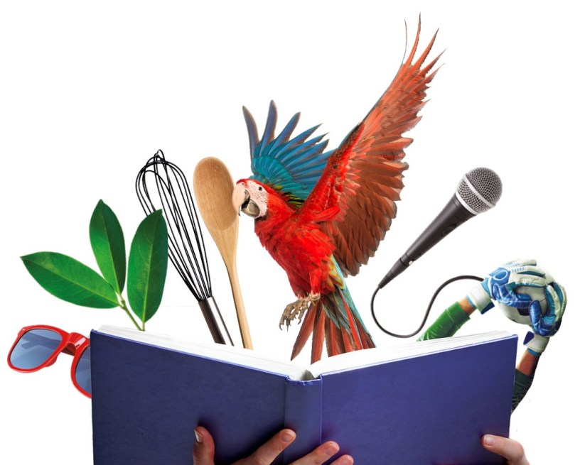 Sunglasses, Leaves and Parrott amongst other items leaping from the pages of a book