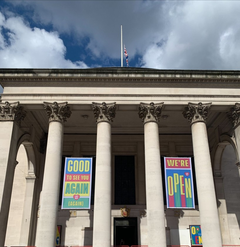Entrance pillars to Central Library with Opening Banners