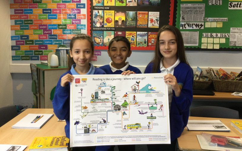Three Children holding Read Manchester Map