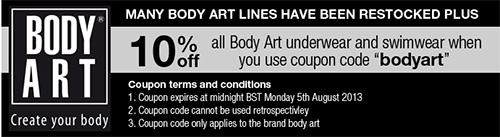 10 percent off Body Art underwear at Dead Good Undies