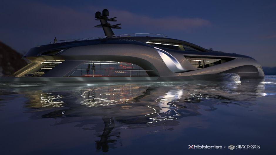 Xhibitionist Yacht Megayacht Boot Luxus Russland Prunk Teuer Gray Design Meer Konzept