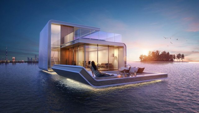 Floating Seahorse Haus Nacht Dubai Paradies Meer Licht Terrasse