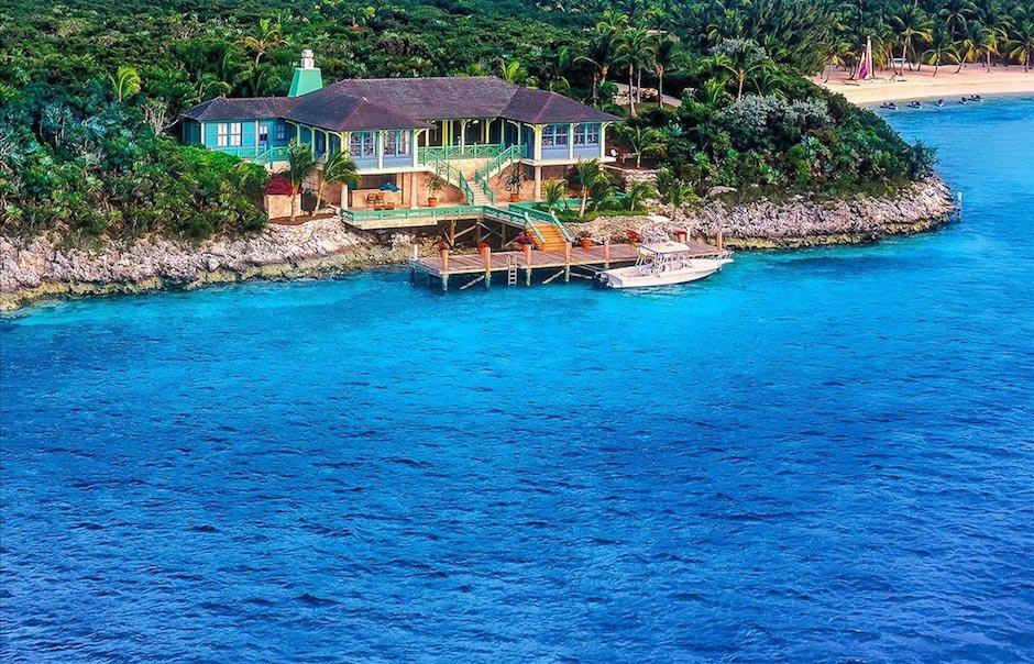 Musha Cay Insel Bahamas David Copperfield Magier Privatinsel Hotel Mieten Luxus Azur blau Palmen Haus Villa Urlaub