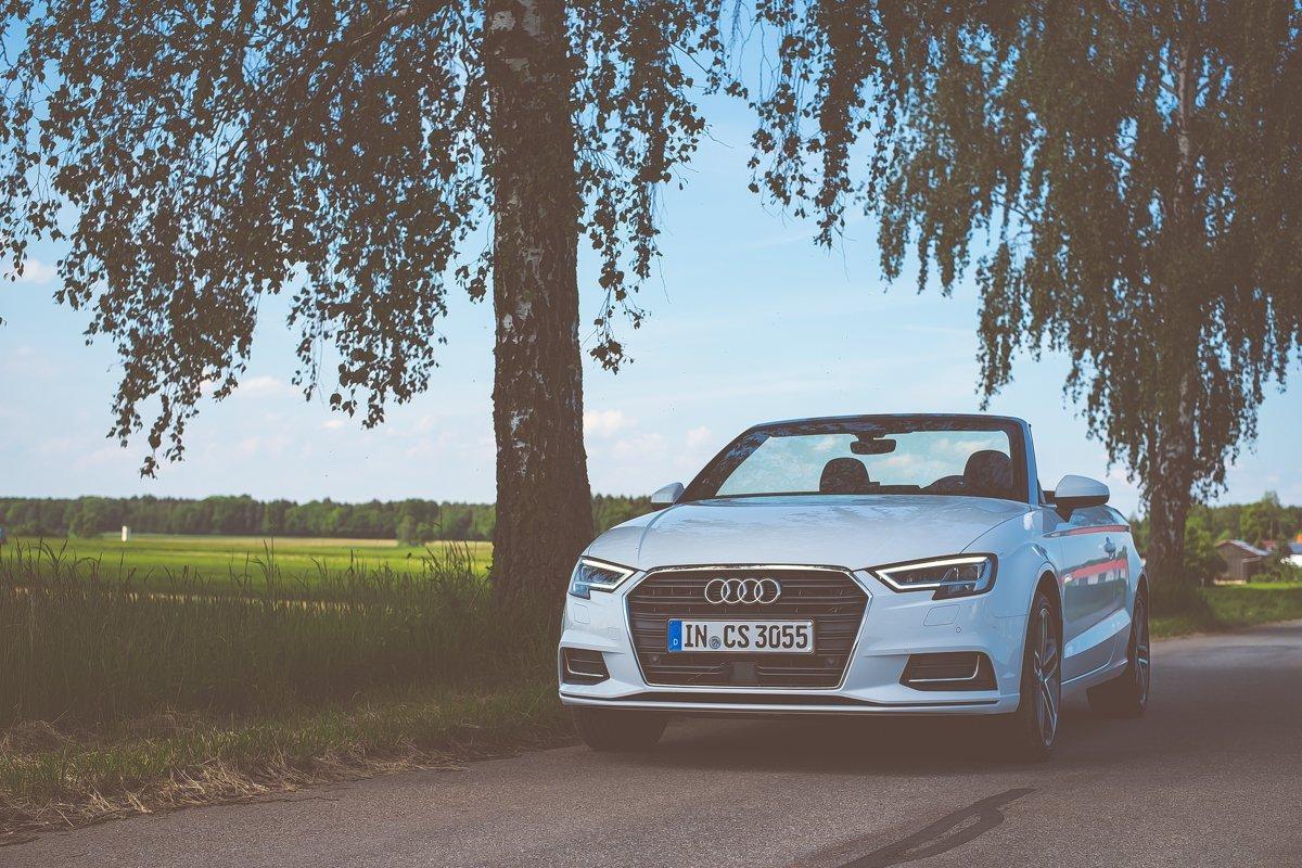 Audi A3 Cabriolet 2.0 TDI Cabrio Weiß Polarweiß weiss Bayern Landschaft Landstraße Sommer Baum