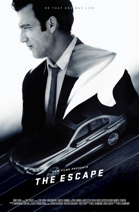 BMW Films The Escape Poster Clive Owen Limousine Anzug Krawatte