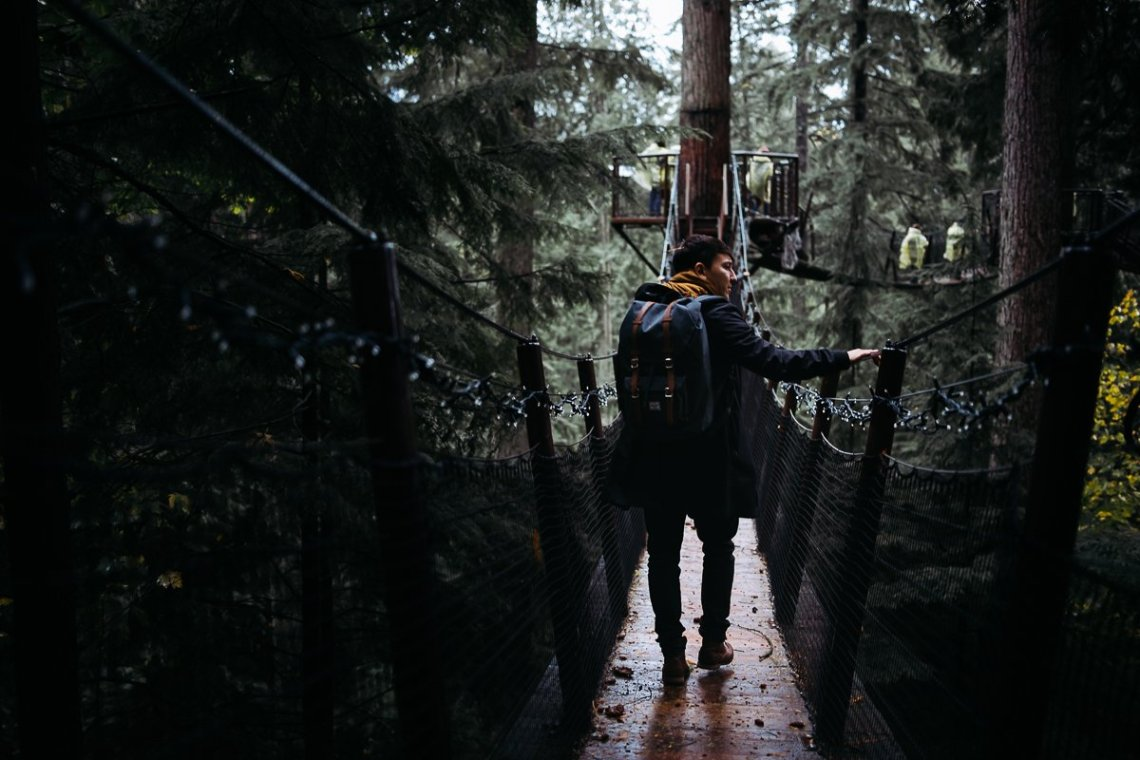 Capilano Suspension Bridge Park Trees Forest Backpack Man in Coat