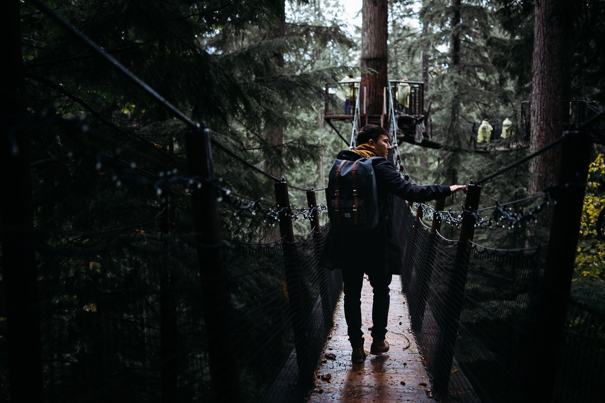 Capilano Suspension Bridge Park Trees Forest Backpack Man in Coat