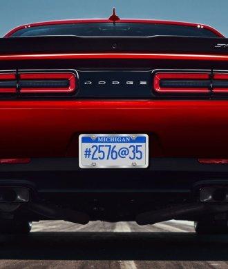2018 Dodge Challenger SRT Demon Rear Heck Bereifung Drag Strip rot 315/40R18 LED Heckleuchten Ponycar V8