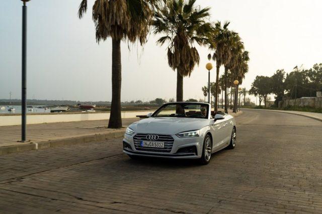 Audi A5 Cabriolet 3.0 TDI Front Gletscherweiss Andalusien Strand Promenade Sonnenuntergang