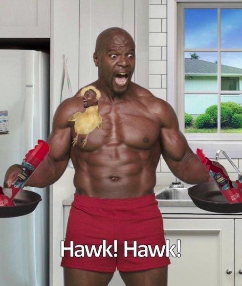Old Spice Hawkridge Terry Crews Bodybuilder Nackt Deospray Pfanne rote Shorts Kühlschrank Küche Fenster