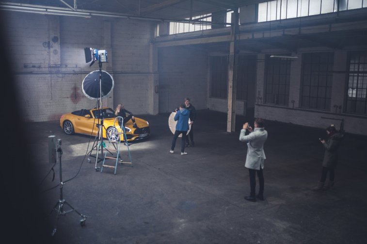 Behind the Scenes Photo Shooting Yellow Car Mercedes