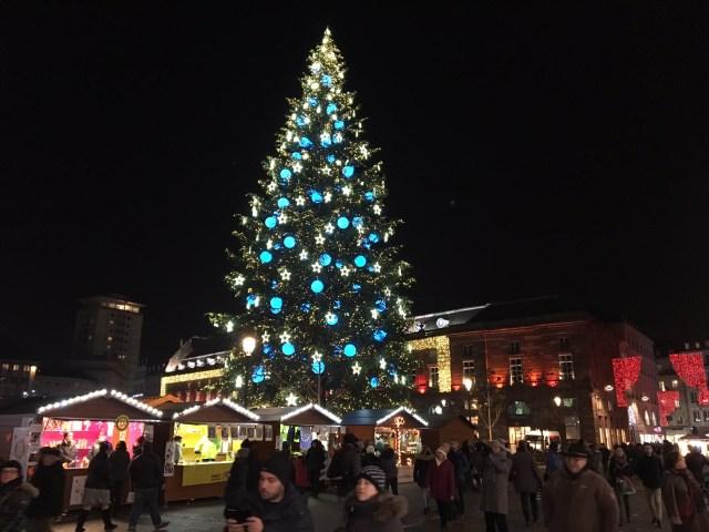 Blue Christmas Tree Strasbourg European escorted motorhome tour
