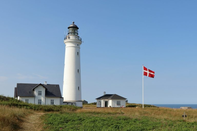 Denmark lighthouse with flag Hirtshals