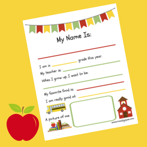 Picture of a Back to School Interview Printable