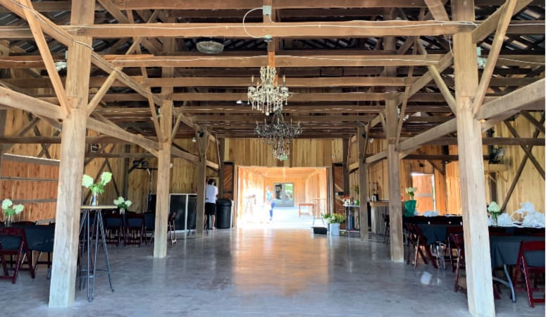 The event barn being decorated for a class reunion.