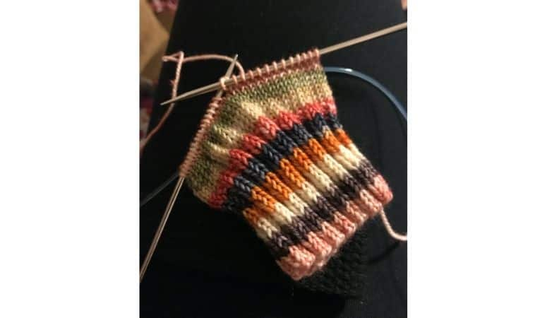 a sock being knitted