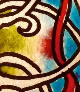 colori che si incontrano in un mandala ad acquarello