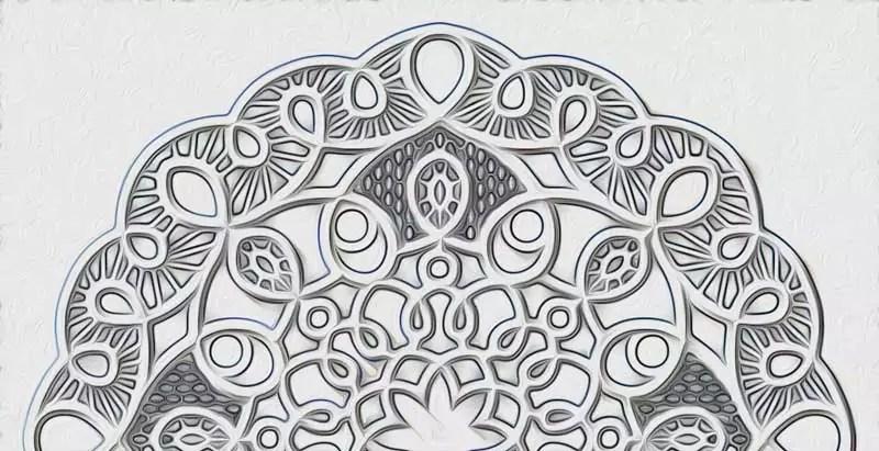 mandala da colorare ricostruito in bianco e nero