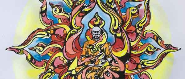 il monaco che brucia mandala da colorare