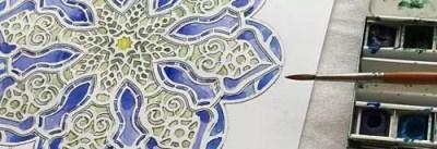 mandala rosone difficile close up pennello