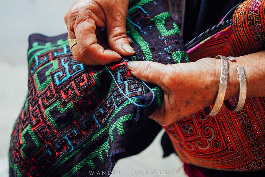 Hmong embroideryi Sapa, Vietnam