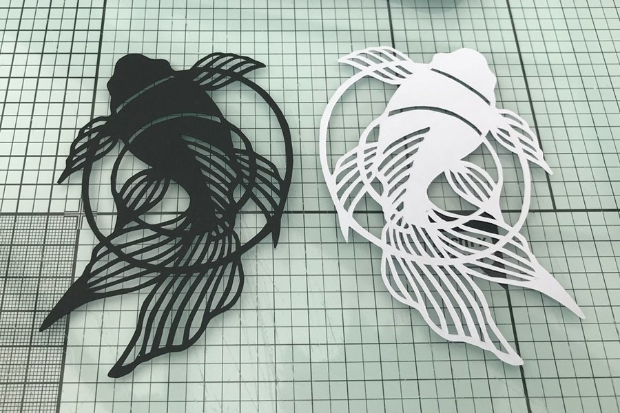 Koi Carp kirie or Japanes paper cut