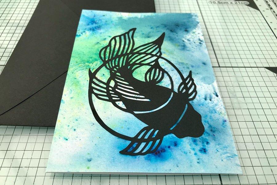 Koi carp kirie greetings card by Nozomi Design