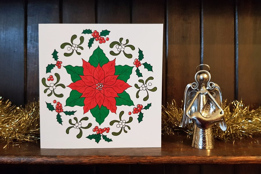 Christmas Mandala Art Class (and a free printable Christmas card to colour)