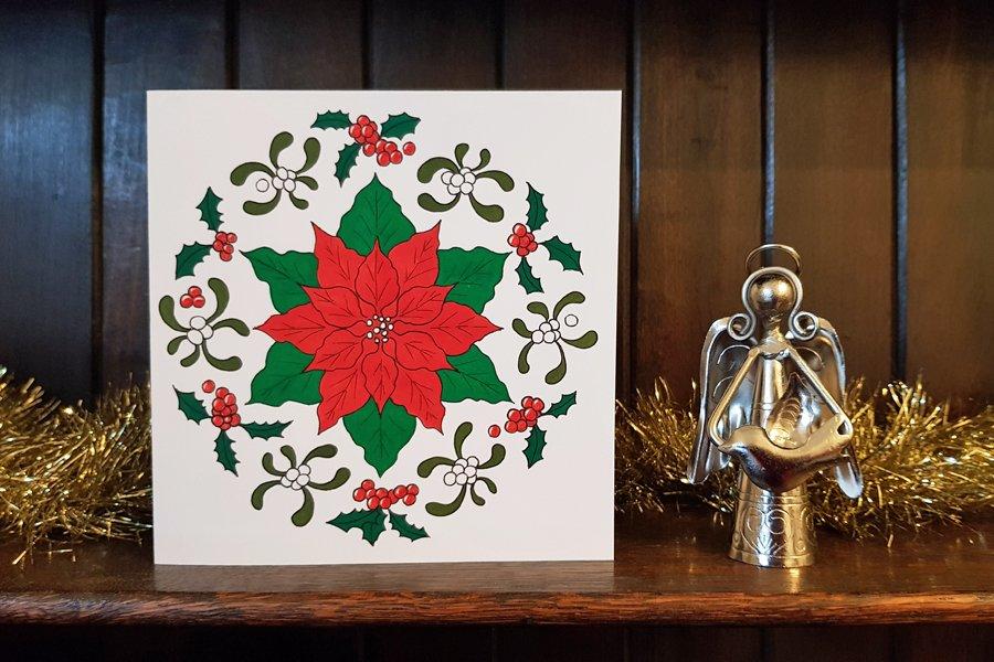 Free printable Christmas card to colour