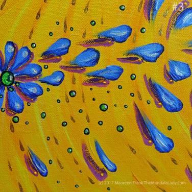 """Abstract Mandala #2: 3 - add marigold dots on maroon shadow """"drops"""""""