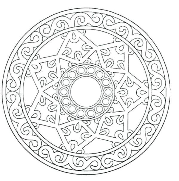 Mandalas con estrellas para colorear, tatuar, dibujar