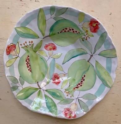 Ceramic platter with painting of pomegranates