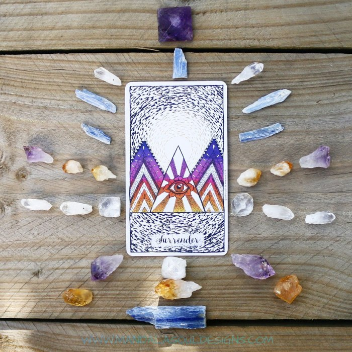 Crystal Grid and Surrender Oracle Card from Connected and Free Oracle Deck by Inner Hue || Mandala Soul Designs