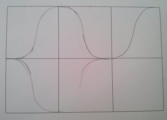 I marked the grid, and then spent some time getting the first row of bell curves started.  The first few are the hardest.